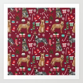 Austrian Cattle Dog red and blue merle christmas presents holiday dog breed pattern pet friendly Art Print