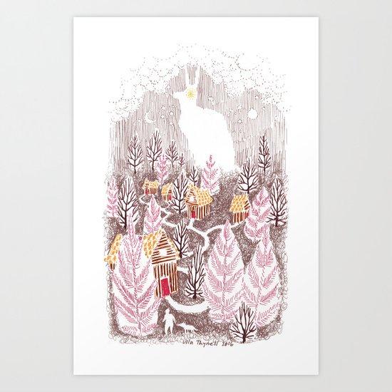 Bunny Village Art Print