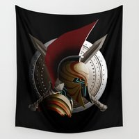 warrior Wall Tapestries featuring Warrior by Det Tidkun