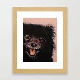 Black Pomeranian Framed Art Print