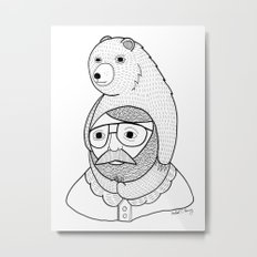 On how baby bears are often used as winter hats Metal Print