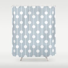 BlueGray Lined Polka Dot Shower Curtain
