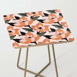 Bold orange poppy on a soft pink base Side Table