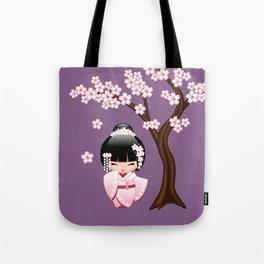 Japanese Bride Kokeshi Doll on Purple Tote Bag