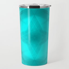 Scalding triangular strokes of intersecting sharp lines with light blue triangles and a star. Travel Mug