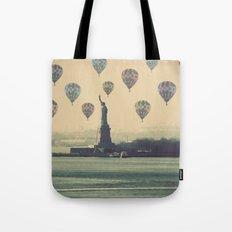 Balloons over Lady Liberty Tote Bag