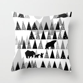 Black and white Forest Throw Pillow