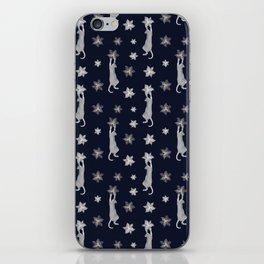 Cats Climbing Flowers Navy Blue iPhone Skin