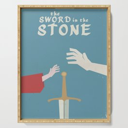 The sword in the stone, minimalist movie poster, animated film, King Arthur, Merlin, retro playbill Serving Tray