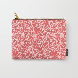 Paisley or Damask Red Floral Pattern Carry-All Pouch
