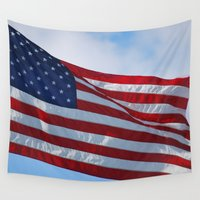 american flag Wall Tapestries featuring American Flag by Sarah Shanely Photography