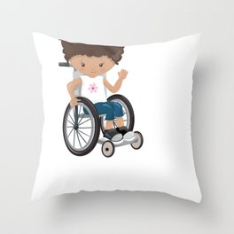 This is How I Roll Short Hair Causasian Girl in a Wheelchair clipart Throw Pillow