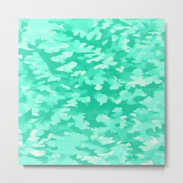 Foliage Abstract  Pop Art Aqua Metal Print