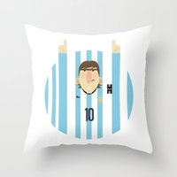 messi Throw Pillows featuring Lionel Messi Argentina Illustration  by Gary  Ralphs Illustrations