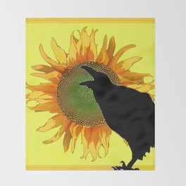 BLACK CROW-RAVEN YELLOW SUNFLOWER FLORAL ART Throw Blanket