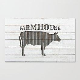 Rustic Farmhouse Cow Canvas Print