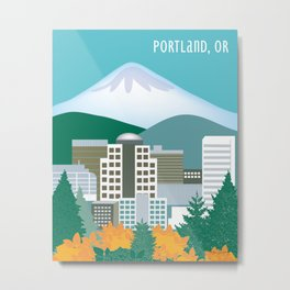 Portland, Oregon - Skyline Illustration by Loose Petals Metal Print