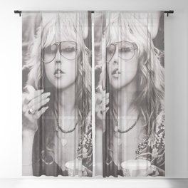 Stevie Nicks Young Black and white Retro Silk Poster Frameless Sheer Curtain