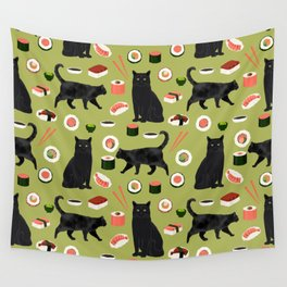 Black cat sushi cat breeds cat lover pattern art print cat lady must have Wall Tapestry