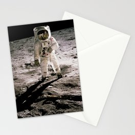 Edwin Aldrin walking on the lunar surface. Neil Armstrong, who took the photograph, can be seen reflected in Aldrin's helmet visor Stationery Cards