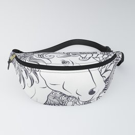Whimsy unicorn and floral mandala design Fanny Pack