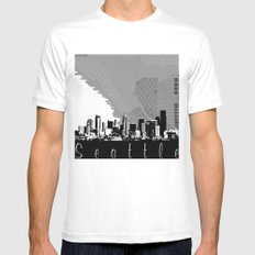 Seattle Skyline MEDIUM Mens Fitted Tee White