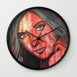 Abstract art portrait face woman girl painting ... Memories Wall Clock