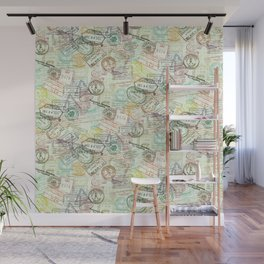 Passport Stamps Wall Mural