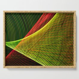 Abstract colorful lines on black background. Serving Tray