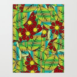 Foliage and flowers Poster