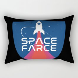 Space Force Space Farce Logo graphic parody Blue Black Military Rectangular Pillow