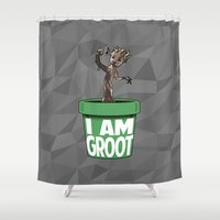 groot Shower Curtains featuring Baby Groot by Variable