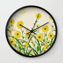 Yellow Wildflowers Wall Clock