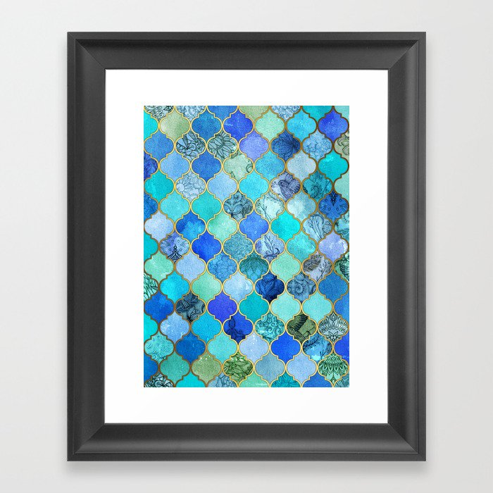 Cobalt Blue, Aqua & Gold Decorative Moroccan Tile Pattern Gerahmter Kunstdruck