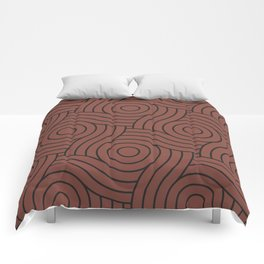 Circle Swirl Pattern Solid Color Dunn Edwards Color of the Year Spice of Life DET439 Comforters