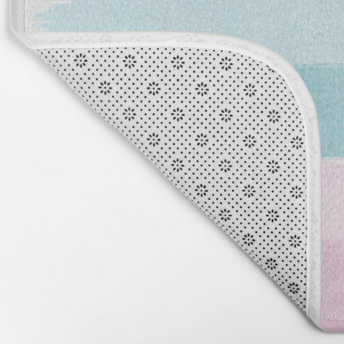 Painted pastel candyland stripes minimal art by charlotte winter Bath Mat