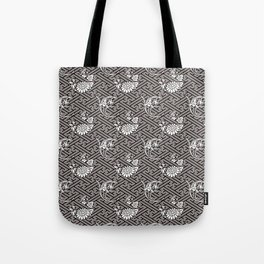 Black Chrysanthemum Auspicious Sayagata Japanese Kimono Pattern Tote Bag