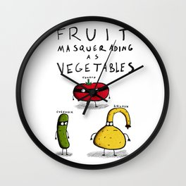 Fruit Masquerading as Vegetables Wall Clock