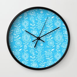 wonky wildflower waterfall in aqua Wall Clock