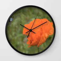 poppy Wall Clocks featuring Poppy by Fine Art by Rina