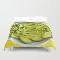 avocado Duvet Covers featuring Avocado by Hector Wong
