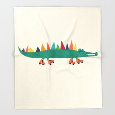 Crocodile on Roller Skates Throw Blanket