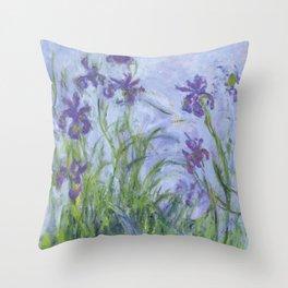 "Claude Monet ""Iris mauves"" Throw Pillow"