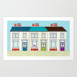 Tabs in his Victorian Terrace house Art Print