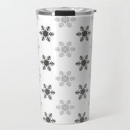 Snowflake Pattern   Black and White Travel Mug