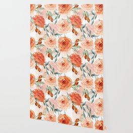 Living Coral Autumnal Roses Wallpaper