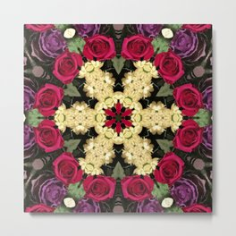 Ring of Roses - Abstract Floral Art by Fluid Nature Metal Print
