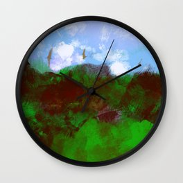 Nature landscape mountain vegetation blue sky clouds with birds flying illustration painting Wall Clock
