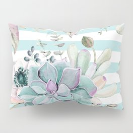 Succulent Garden Striped Succulent Blue Pillow Sham