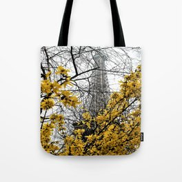 Eiffel Tower yellow flowers Tote Bag